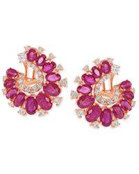Macy's - Metallic Diamond (1-1/8 Ct. T.w.) And Ruby (8 Ct. T.w.) Earrings In 14k Rose Gold - Lyst