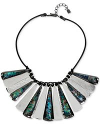 Robert Lee Morris | Metallic Hematite-tone Shell-inspired Leather Drama Necklace | Lyst