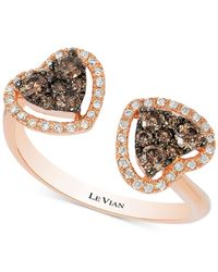 Le Vian - Metallic Diamond Double Heart Open Ring (1/2 Ct. T.w.) In 14k Rose Gold - Lyst