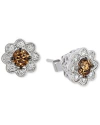 Le Vian | Metallic Diamond Cluster Stud Earrings (3/4 Ct. T.w.) In 14k White Gold | Lyst