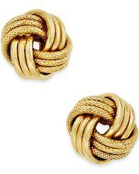 Macy's   Metallic Love Knot Polished & Textured Stud Earrings In 14k Gold   Lyst