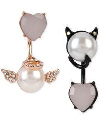 Betsey Johnson | White Two-tone Faux-pearl And Crystal Angel And Devil Front And Back Mismatch Earrings | Lyst