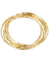 Hint Of Gold - Metallic Thin Bangle Bracelet Set In 14k Gold Over Metal - Lyst