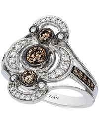 Le Vian | Metallic Chocolate And White Diamond Deco Ring (7/8 Ct. T.w.) In 14k White Gold | Lyst