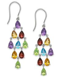 Macy's - Metallic Multi-stone Chandelier Earrings (6 Ct. T.w.) In Sterling Silver - Lyst