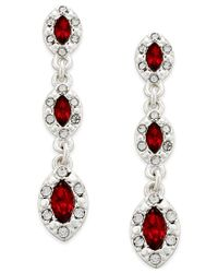 Charter Club - Metallic Silver-tone Red Stone And Crystal Drop Earrings, Only At Macy's - Lyst