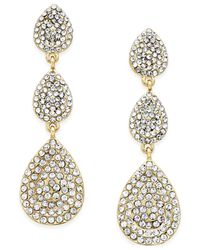 INC International Concepts | Metallic Gold-tone Pavè Triple Teardrop Earrings | Lyst