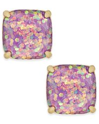 kate spade new york | 14k Gold-plated Glittery Purple Square Stud Earrings | Lyst