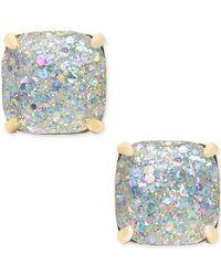 Kate Spade | Metallic 14k Gold-plated Glittery Purple Square Stud Earrings | Lyst