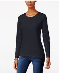Style & Co. | Blue Long-sleeve Crew-neck T-shirt | Lyst