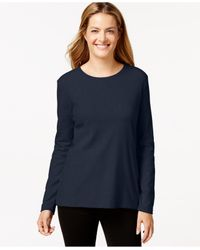 Style & Co. | Blue Crew-neck Top, Only At Macy's | Lyst