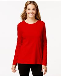 Style & Co. | Red Crew-neck Top, Only At Macy's | Lyst