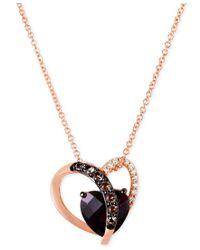 Le Vian - Multicolor Raspberry Rhodolite (2 Ct. T.w.), Smoky Quartz (1/10 Ct. T.w.) And Diamond Accent Heart Necklace In 14k Rose Gold - Lyst