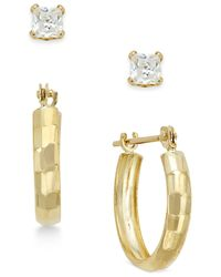 Macy's | Metallic Cubic Zirconia Stud (3/10 Ct. T.w.) And Hoop Earring Set In 10k Gold | Lyst