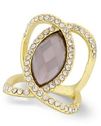 INC International Concepts | Gray Gold-tone Black Stone And Pavé Crystal Statement Ring | Lyst