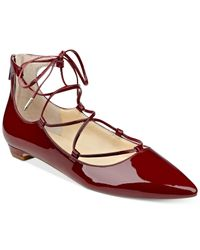 Ivanka Trump | Red Tropica Lace-up Flats | Lyst