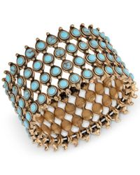 Lucky Brand | Metallic Gold-tone Turquoise-look Bead Wide Cuff Bracelet | Lyst