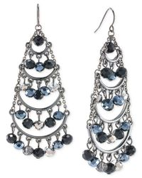 Carolee - Metallic Hematite-tone Beaded Chandelier Earrings - Lyst