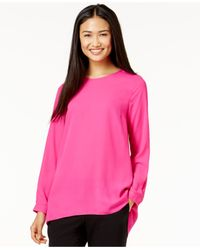Vince Camuto | Pink Pleated-back High-low Blouse | Lyst