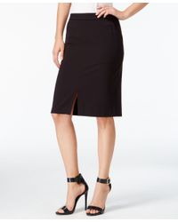 Kensie - Black Front-slit Pencil Skirt - Lyst