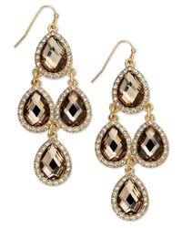 INC International Concepts | Metallic Gold-tone Jet Black Teardrop Chandelier Earrings | Lyst