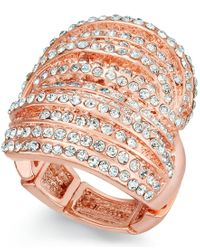 INC International Concepts   Metallic Rose Gold-tone Crystal Criss Cross Adjustable Ring, Only At Macy's   Lyst