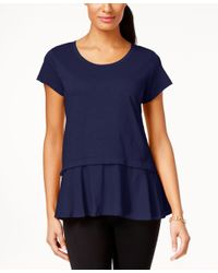 Style & Co. | Blue Layered-look Peplum T-shirt, Only At Macy's | Lyst