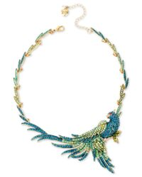 Betsey Johnson - Gold-tone Blue And Green Pave Bird Statement Necklace - Lyst