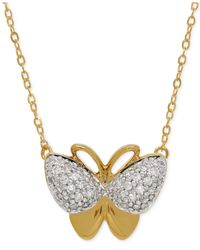Macy's | Metallic Diamond Butterfly Pendant Necklace (1/10 Ct. T.w.) In 10k Gold | Lyst
