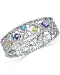 Macy's | Metallic Multi-gemstone (6-7/8 Ct. T.w.) Filigree Bangle Bracelet In Sterling Silver | Lyst