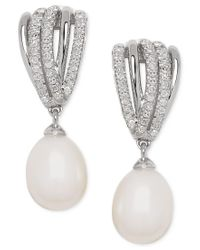 Macy's | Metallic Freshwater Pearl (7mm) And Diamond (1/5 Ct.t.w.) Drop Earrings In Sterling Silver | Lyst