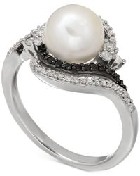 Macy's | Metallic Freshwater Pearl (8mm) And Diamond (1/3 Ct. T.w.) Ring In Sterling Silver | Lyst