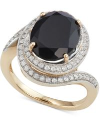 Macy's | Metallic Onyx (4 Ct. T.w.) And White Topaz (1/2 Ct. T.w.) Ring In 14k Gold | Lyst