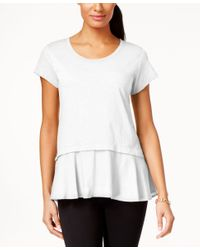 Style & Co. | White Petite Layered-look Peplum T-shirt, Only At Macy's | Lyst