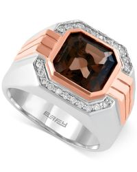 Effy Collection | Metallic Smoky Quartz (3-7/8 Ct. T.w.) And Diamond (1/6 Ct. T.w.) Ring In 14k Rose And White Gold for Men | Lyst