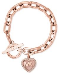 Michael Kors | Metallic Rose Gold-tone Pavé Logo Heart Toggle Bracelet | Lyst