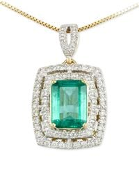 Rare Featuring Gemfields | Metallic Certified Emerald (1-1/5 Ct. T.w.) And Diamond (1/4 Ct. T.w.) Pendant Necklace In 14k Gold | Lyst