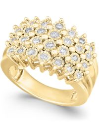 Macy's | Metallic Diamond Multi-row Ring (1/2 Ct. T.w.) In Sterling Silver Or 14k Gold Over Sterling Silver | Lyst