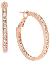 Hint Of Gold | Metallic Crystal Inside Out Hoop Earrings In 14k Rose Gold-plated Metal | Lyst