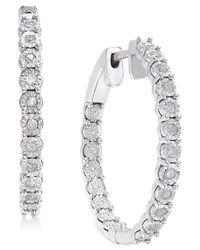 Macy's   Metallic Diamond Hoop Earrings (1/4 Ct. T.w.) In Sterling Silver   Lyst
