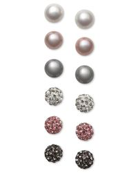 Macy's | Metallic Cultured Freshwater Pearl (8mm) And Pave Crystal Stud Earrings 6-pc. Set In Sterling Silver | Lyst