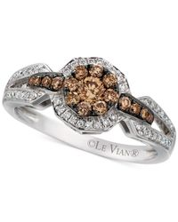 Le Vian | Metallic Chocolatier® Chocolate And White Diamond Halo Ring (5/8 Ct. T.w.) In 14k White Gold | Lyst