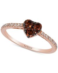 Le Vian | Brown Exotics Chocolate And White Diamond Heart Ring (1/2ct.t.w) In 14k Rose Gold | Lyst