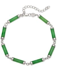 Macy's | Metallic Dyed Jadeite (4 X 15mm) Link Bracelet In Sterling Silver | Lyst