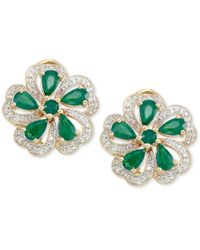 Rare Featuring Gemfields - Green Certified Emerald (1-5/8 Ct. T.w.) And Diamond (1/4 Ct. T.w.) Earrings In 14k Gold - Lyst