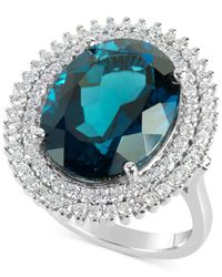 Macy's | Blue Topaz (12 Ct. T.w.) And Diamond (4/5 Ct. T.w.) Ring In 14k White Gold | Lyst