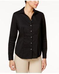 Charter Club - Black Solid Button Down Shirt - Lyst