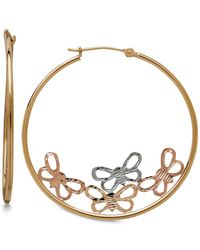 Macy's - Metallic Tri-color Butterfly Hoop Earrings In 10k Gold - Lyst