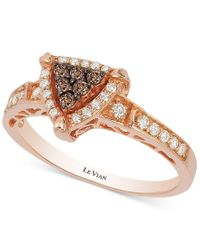Le Vian | Metallic Chocolate And Vanilla Diamond Triangle Ring (1/3 Ct. T.w.) In 14k Rose Gold | Lyst