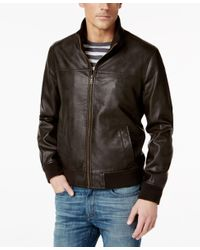 Tommy Hilfiger | Brown Faux-leather Stand-collar Bomber Jacket for Men | Lyst